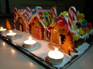 gingerbread house at night