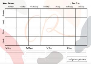 free healthy menu planner